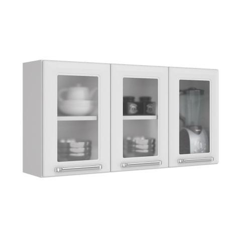 Imagem de Cozinha Itatiaia Luce com Armários Aéreos e Balcão 2 Gavetas 8 Portas 3 Vidros Vermelho / Branco