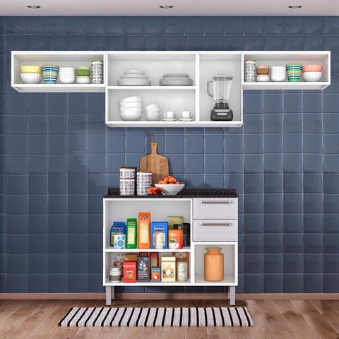 Imagem de Cozinha Itatiaia Luce com Armários Aéreos e Balcão 2 Gavetas 8 Portas Branco