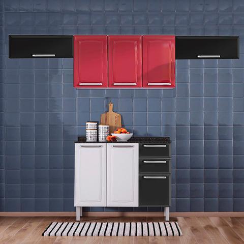 Imagem de Cozinha Itatiaia Luce com Armários Aéreos e Balcão 2 Gavetas 8 Portas Preto / Vermelho