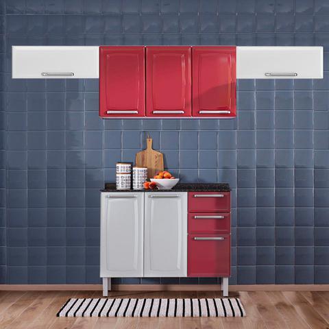 Imagem de Cozinha Itatiaia Luce com Armários Aéreos e Balcão 2 Gavetas 8 Portas Vermelho / Branco