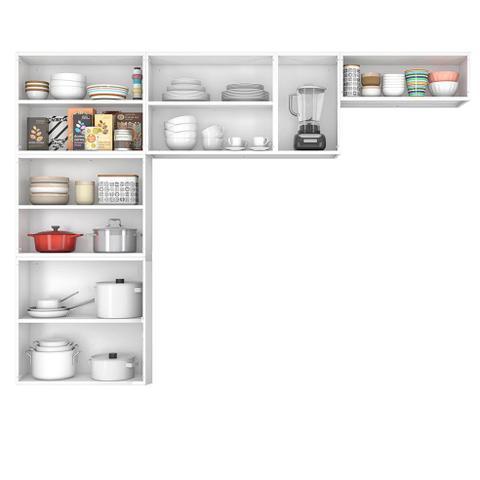 Imagem de Cozinha Itatiaia Luce Compacta 3 Pecas 3 Vidros Branco/Preto Paneleiro Armario Aereo