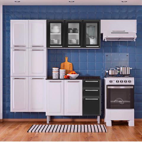 Imagem de Cozinha Itatiaia Luce Compacta 4 Pecas 3 Vidros Branco/Preto Paneleiro Armario Aereo Gabinete