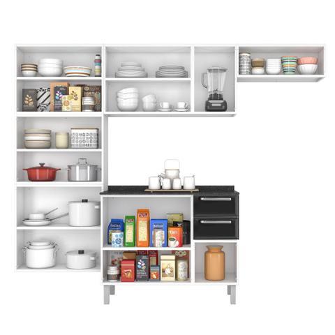 Imagem de Cozinha Itatiaia Luce Compacta 4 Pecas Branco/Preto Paneleiro Armario Aereo Gabinete