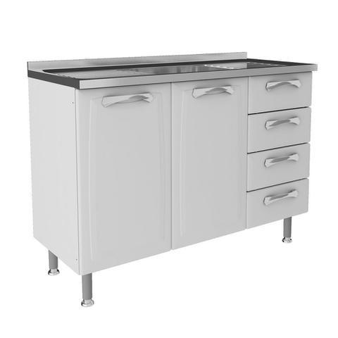 Imagem de Cozinha Itatiaia Premium Compacta 4 Pecas 2 Vidros Balcao / Gabinete com Pia Inox Branco