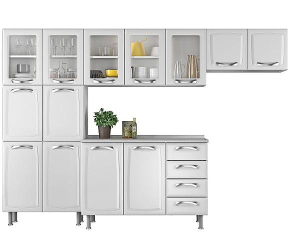 Imagem de Cozinha Itatiaia Premium Compacta 4 Pecas 5 Vidros Balcao / Gabinete c/ 4 Gavetas Branco