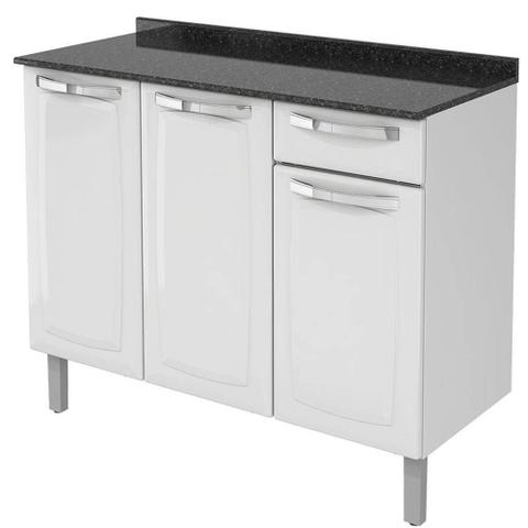 Imagem de Cozinha Itatiaia Rose Compacta 4 Pecas Preto e Gabinete Branco