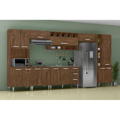 Imagem de Cozinha Modulada 7 Peças Milena 2722 Marrom Milani Movelaria
