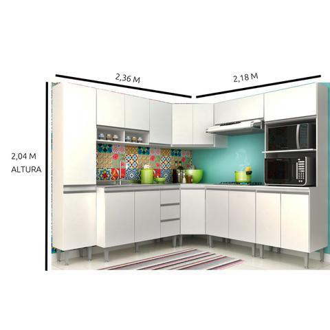 Imagem de Cozinha Modulada de Canto Aretha - 8 Peças Completa 16 PT 2 GV Branca - MEGASUL
