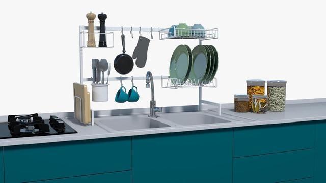 Imagem de Cozinha Modular Escorredor De Pratos Grande 20 Peças Em Aço