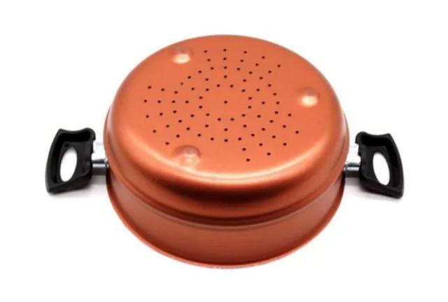 Imagem de Cozivapor Panela Cozimento A Vapor Antiaderente 3x1 Cobre