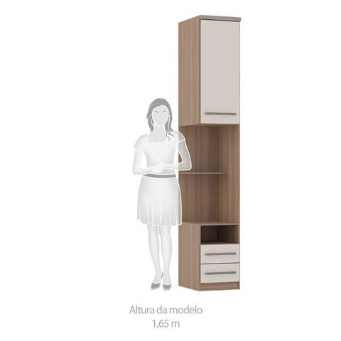 Imagem de Criado Mudo Alto Modulado 1 Porta 2 Gavetas Nicho e Prateleira 38cm Connect Luciane Móveis Vanilla/Pérola Off