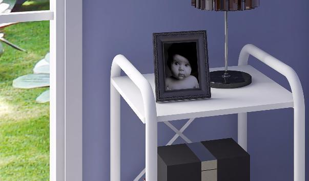 Imagem de Criado Mudo Madri com Prateleiras Branco - Artefamol