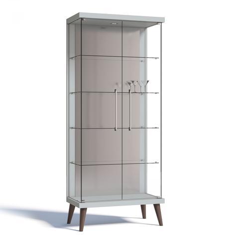 Imagem de Cristaleira com Espelho, LED e 2 Portas em Vidro Tiffany Retrô Imcal Branco