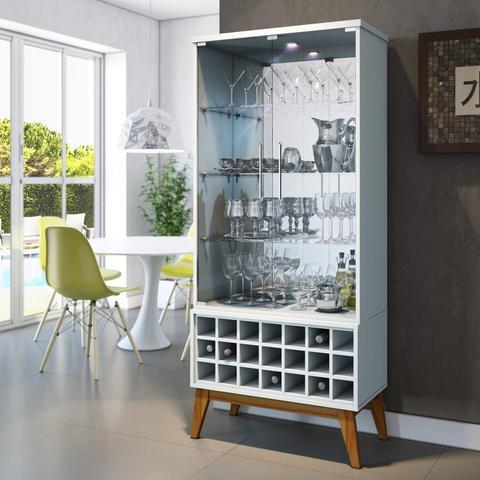 Imagem de Cristaleira com Espelho, LED e Adega para 21 Garrafas Classic Retrô Imcal Branco