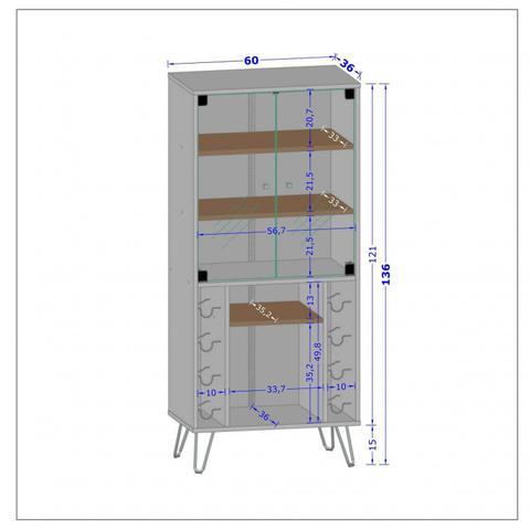 Imagem de Cristaleira com Porta Garrafas 2 Portas Scala Móveis Bechara Madeira Rústica
