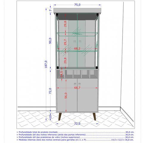 Imagem de Cristaleira com Porta Garrafas e 4 Portas Monza II Móveis Bechara Madeira Rústica