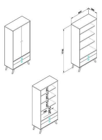 Imagem de Cristaleira Retrô Rústica 2 Portas De Vidro 2 Gavetas - Branca