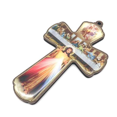Imagem de Crucifixo cruz de parede santa ceia e jesus misericordioso