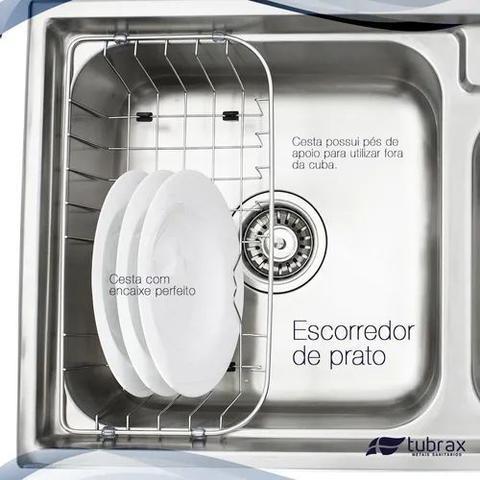 Imagem de Cuba Cozinha Dupla Gourmet Com Acessórios Inox 304 modelo Utile Tubrax