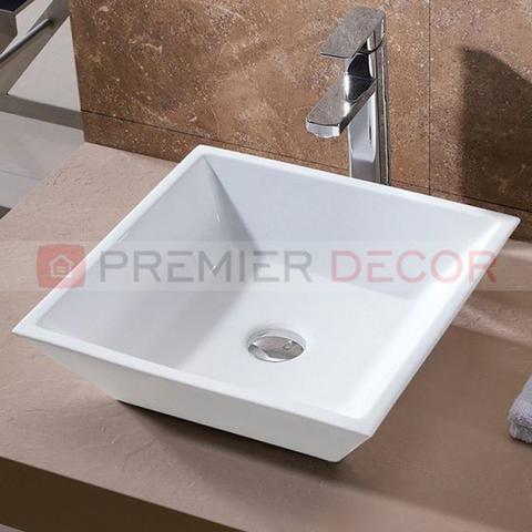 Imagem de Cuba de Apoio Banheiro Lavabo Sobrepor de Porcelana Cerâmica Louça C267 + Válvula V01 - Premierdecor