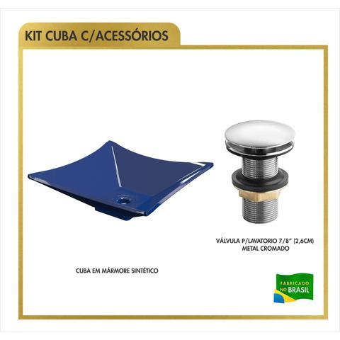 Imagem de Cuba de Apoio Folha Lux L34W com Válvula de Metal Click Compace Azul Escuro