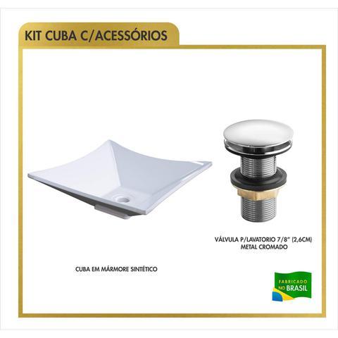 Imagem de Cuba de Apoio Folha Lux L34W com Válvula de Metal Click Compace Branco