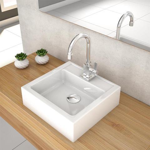 Imagem de Cuba De Apoio Para Banheiro Compace Julia Q35w Quadrada Branca