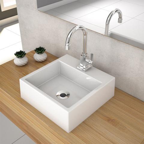 Imagem de Cuba De Apoio Para Banheiro Compace Q355w Quadrada Branca