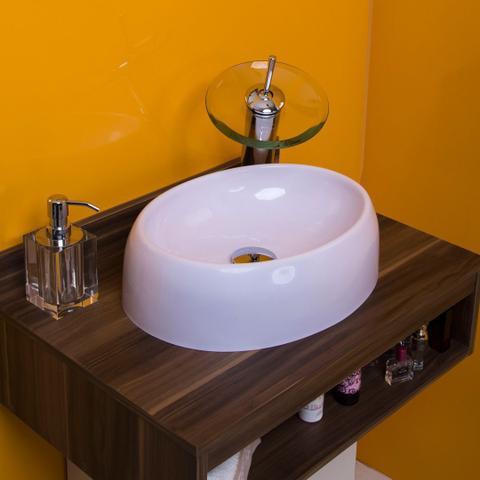 Imagem de Cuba de Apoio para Banheiro e Lavabo Modelo Oval Branca