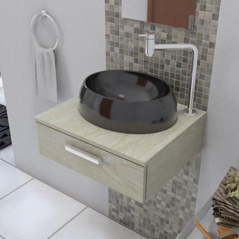 Imagem de Cuba De Apoio Para Banheiro E Lavabo Modelo Oval Preto