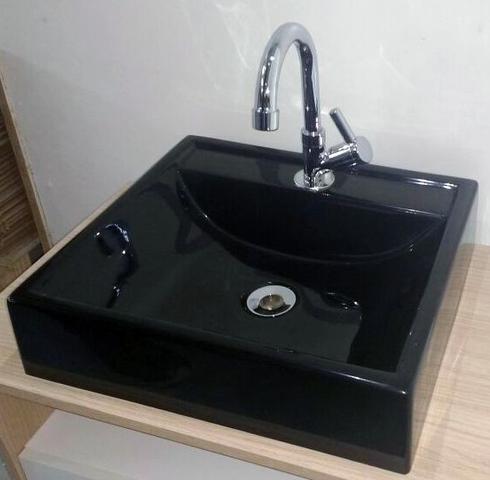 Imagem de Cuba de Apoio para Banheiro e Lavabo Modelo Ravena Preta