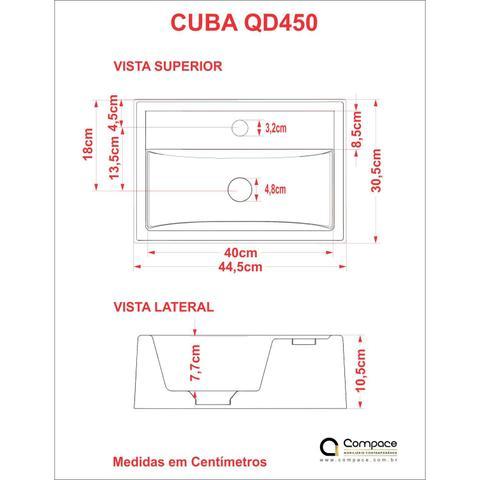 Imagem de Cuba de Apoio Quadrada Q450W Toneira Luxo Válvula Click com Sifão de PVC Flexível Compace Branco