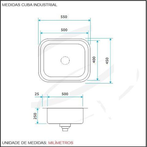 Imagem de Cuba inox industrial 50x40x25cm inox 304