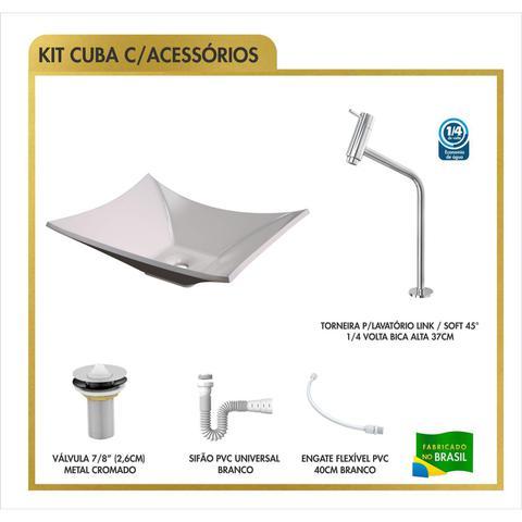 Imagem de Cuba Lux L38W com Torneira Link Alta e Válvula 7/8 com Sifão e Flexível Compace Bege