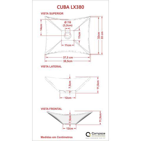 Imagem de Cuba Lux L38W com Torneira Link Alta e Válvula 7/8 com Sifão e Flexível Compace Preto
