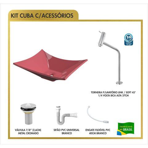 Imagem de Cuba Lux L38W com Torneira Link Alta e Válvula Click com Sifão Redondo Aberto Flexível Compace Rosa