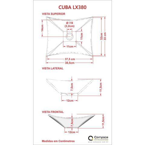 Imagem de Cuba Lux L38W Torneira Link Alta e Válvula Click com Sifão Flexível Compace Verde Acqua