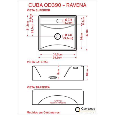 Imagem de Cuba para Banheiro Q39W Ravena Compace Branco