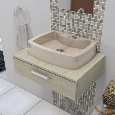 Imagem de Cuba Pia de Apoio Para Banheiro e Lavabo Modelo Albani Bege