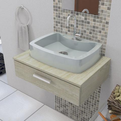Imagem de Cuba Pia de Apoio Para Banheiro e Lavabo Modelo Albani Cinza