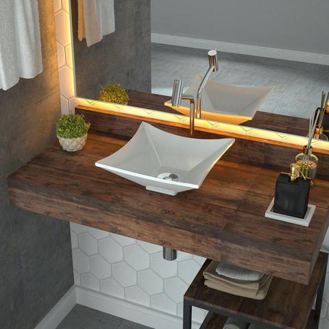 Imagem de Cuba Pia de Apoio para Banheiro Quadrada Luxo 30 C08 Branco - Mpozenato