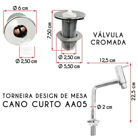 Imagem de Cuba Quadrada Branca Com Torneira e Valvula Cromada