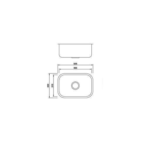 Imagem de Cuba Simples Aço Inox Escovada Mekal CS-1 Extra 46 x 31 cm
