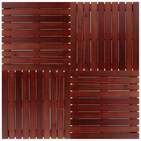 Imagem de Deck de Madeira Modular Base Madeira com Selador Aplicado Isabela Revestimentos 50cm x 50cm (Placa) Madeira de Lei Mista