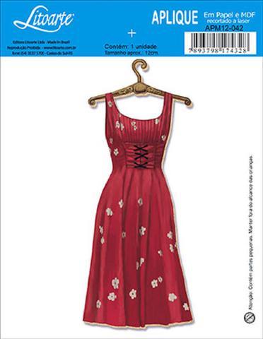 Imagem de Decoupage Aplique em Papel e MDF Vestido APM12-042 - Litoarte