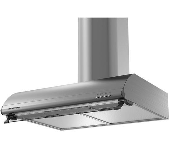 Imagem de Depurador de Ar Brastemp 60 cm Inox 4 bocas com duto estético e duplo filtro