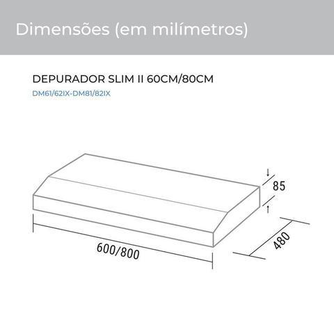 Imagem de Depurador e Exaustor de ar Slim 60 Cm Inox 220V Suggar DM62IX