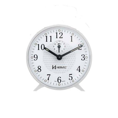 Imagem de Despertador Branco Redondo Mecanico a Corda Herweg 2220-021