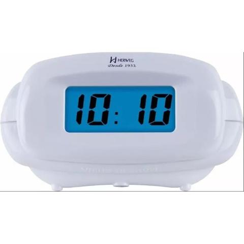 Imagem de Despertador digital herweg led azul luz noturna com alarme sonoro e soneca