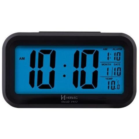 Imagem de Despertador digital led visor azul herweg com luz noturna termometro e calendario de mesa luxo